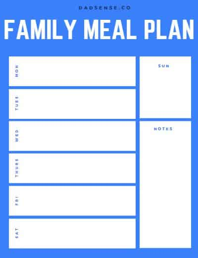free printable meal plan teamplate pdf