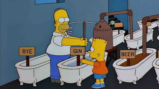 Homer and Bart Simpson's side hustle idea making beer in the basement