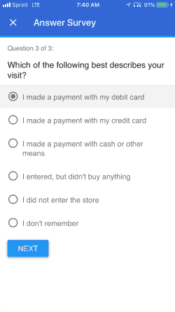 Google Opinion Rewards screenshot asking about recent store visits
