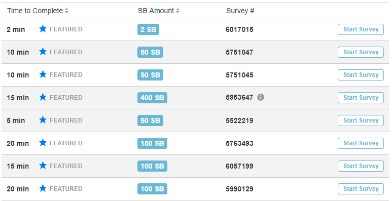 Screenshot of Swagbucks survey section listing how much you can earn with each