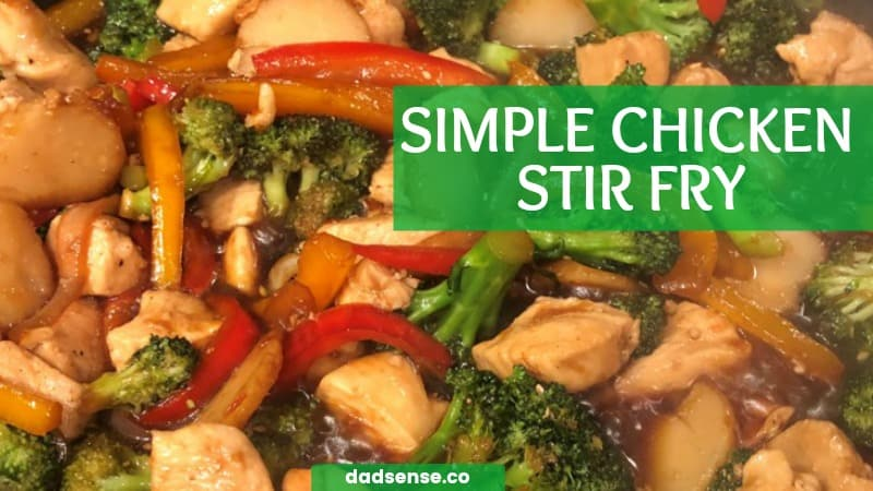 Simple chicken stir fry dish loaded with healthy veggies