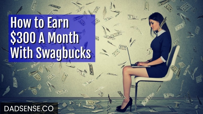 Swagbucks review image of woman on laptop with cash falling all around her