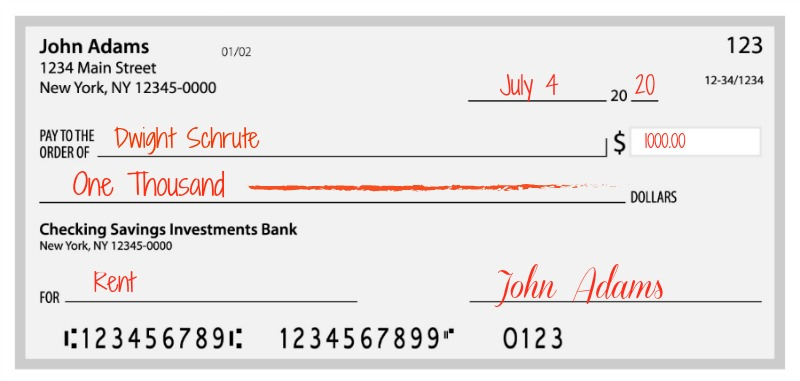 Example of how to write a check for 1000