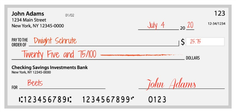 Example of how to write a check with cents