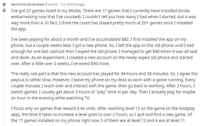 Mistplay review on Reddit